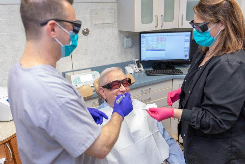 dental patient undergoing laser treatment