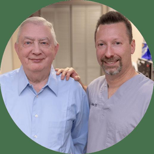 dr schenkman and patient smiling